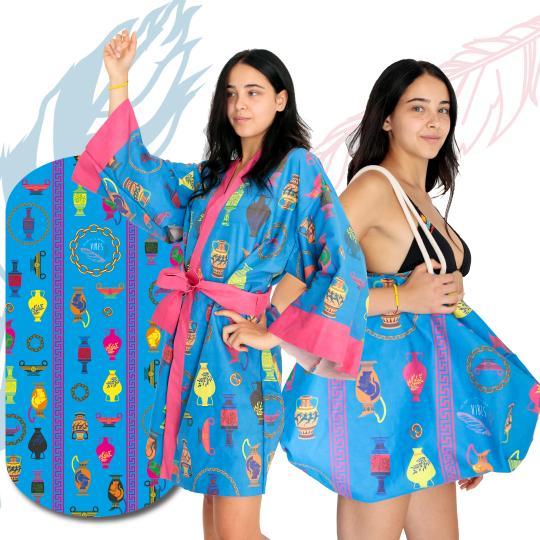 Kit Blue Amphora (Telo + Kimono + Borsa)