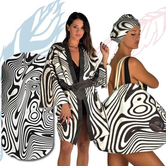 Kit Black Waves (Telo + Kimono + Borsa)
