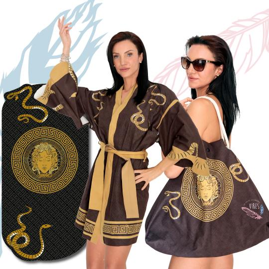 Kit Brown Medusa (Telo + Kimono + Borsa)